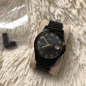 "Marc Jacobs ""Henry"" black and gold accents watch"